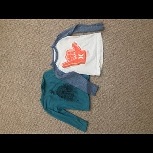 Set of 2 Volcom and Hurley long sleeve T-shirts